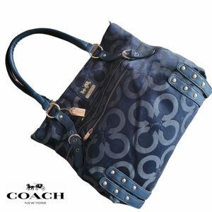 Dark Blue Signature Coach Shoulder Bag